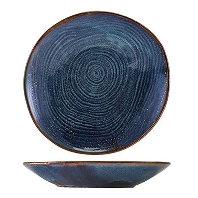 Genware Terra Porcelain Aqua Blue Organic Coupe Bowl 26.5cm