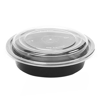 Black Round Microwaveable Plastic Container & Lid 24oz (Pack 150)