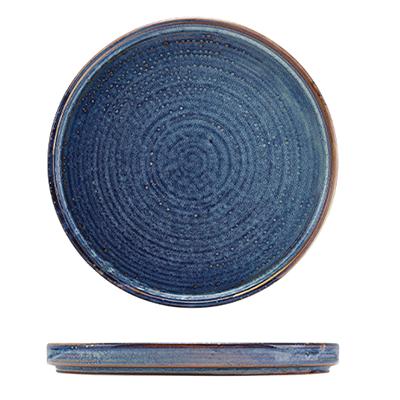 Genware Terra Porcelain Aqua Blue Low Presentation Plate 25cm