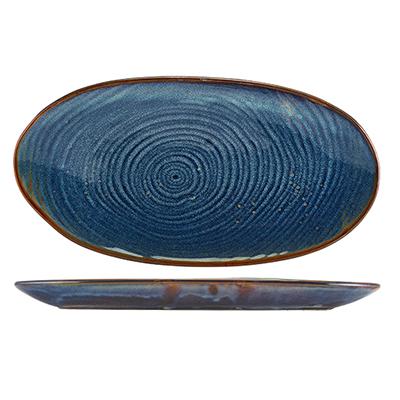 Genware Terra Porcelain Aqua Blue Organic Platter 31cm